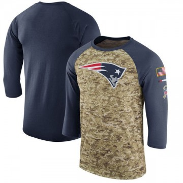 Men's Nike New England Patriots Camo /Navy Salute to Service 2017 Sideline Performance Three-Quarter Sleeve T-Shirt - Legend