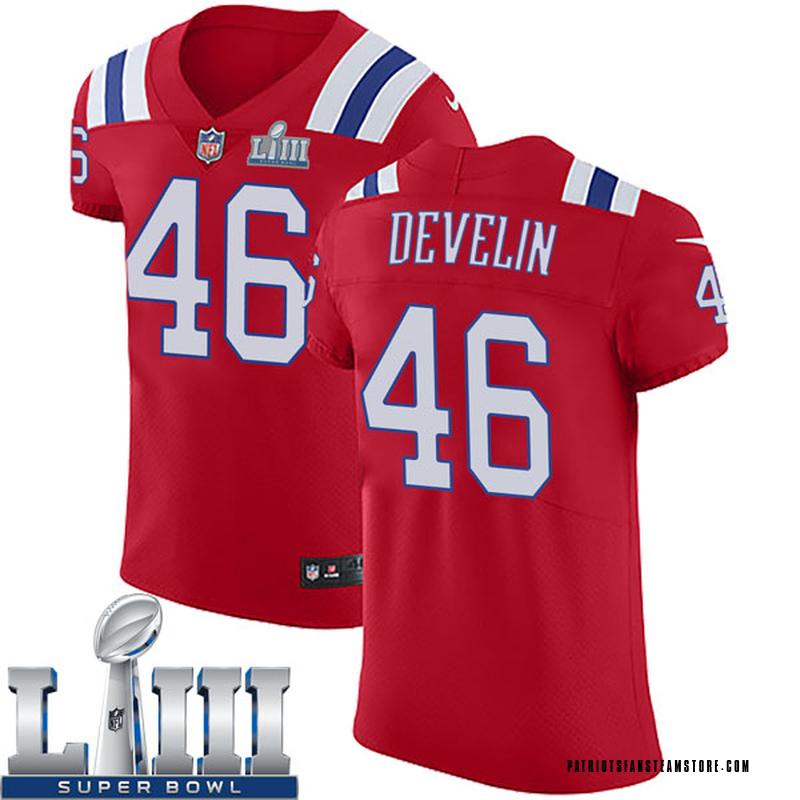 a9820c01 Men's Nike New England Patriots James Develin Red Super Bowl LIII Vapor  Untouchable Alternate Jersey - Elite