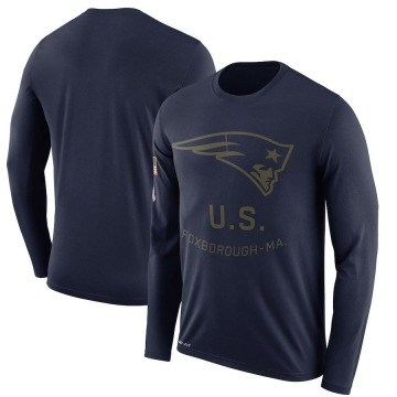 Men's Nike New England Patriots Navy 2018 Salute to Service Sideline Performance Long Sleeve T-Shirt - Legend