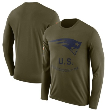 Men's Nike New England Patriots Olive 2018 Salute to Service Sideline Performance Long Sleeve T-Shirt - Legend