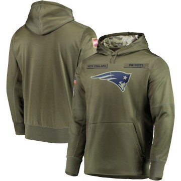 Men's Nike New England Patriots Olive 2018 Salute to Service Sideline Therma Performance Pullover Hoodie -