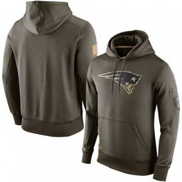 Men's Nike New England Patriots Olive Salute To Service KO Performance Hoodie -
