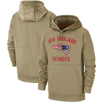 Men's Nike New England Patriots Tan 2019 Salute to Service Sideline Therma Pullover Hoodie -