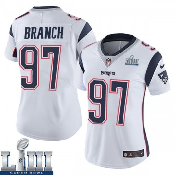 Women's Nike New England Patriots Alan Branch White Super Bowl LIII Vapor Untouchable Jersey - Limited