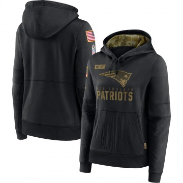 Women's Nike New England Patriots Black 2020 Salute to Service Performance Pullover Hoodie -
