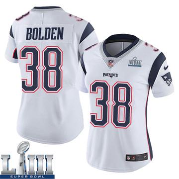 Women's Nike New England Patriots Brandon Bolden White Super Bowl LIII Vapor Untouchable Jersey - Limited