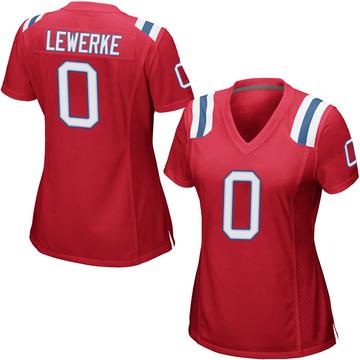 Women's Nike New England Patriots Brian Lewerke Red Alternate Jersey - Game