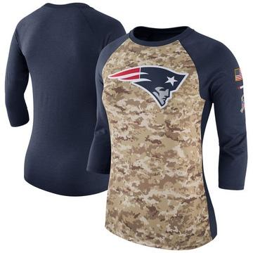 Women's Nike New England Patriots Camo /Navy Salute to Service 2017 Three-Quarter Raglan Sleeve T-Shirt - Legend