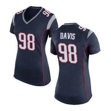 Women's Nike New England Patriots Carl Davis Navy Blue Team Color Jersey - Game