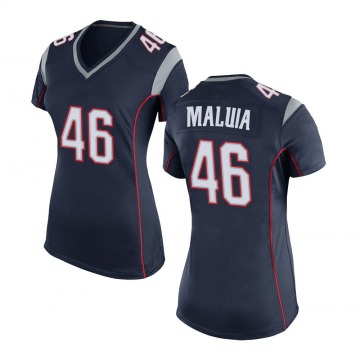 Women's Nike New England Patriots Cassh Maluia Navy Blue Team Color Jersey - Game