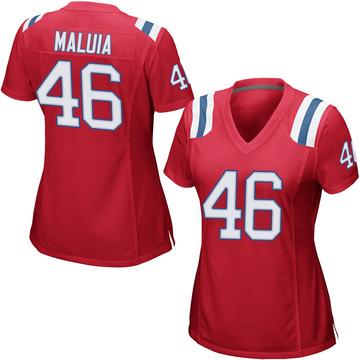 Women's Nike New England Patriots Cassh Maluia Red Alternate Jersey - Game