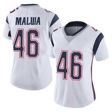 Women's Nike New England Patriots Cassh Maluia White Vapor Untouchable Jersey - Limited