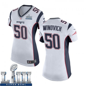 Women's Nike New England Patriots Chase Winovich White Super Bowl LIII Jersey - Game