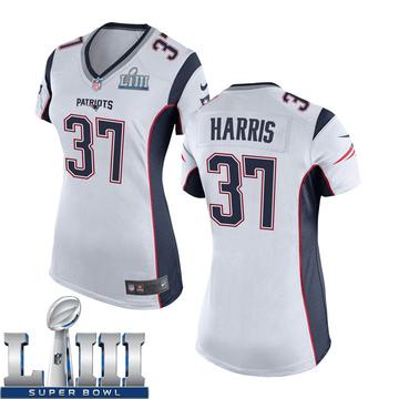 Women's Nike New England Patriots Damien Harris White Super Bowl LIII Jersey - Game