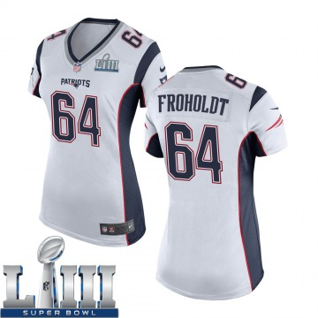Women's Nike New England Patriots Hjalte Froholdt White Super Bowl LIII Jersey - Game