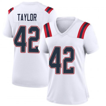 Women's Nike New England Patriots J.J. Taylor White Jersey - Game