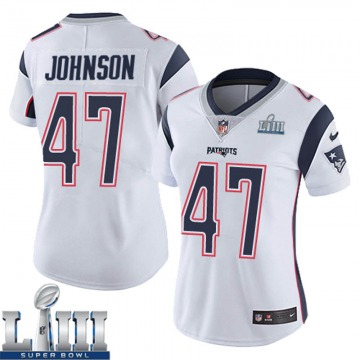 Women's Nike New England Patriots Jakob Johnson White Super Bowl LIII Vapor Untouchable Jersey - Limited