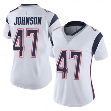 Women's Nike New England Patriots Jakob Johnson White Vapor Untouchable Jersey - Limited