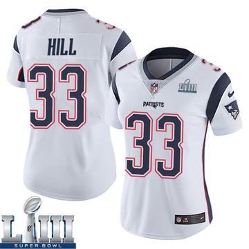 Women's Nike New England Patriots Jeremy Hill White Super Bowl LIII Vapor Untouchable Jersey - Limited