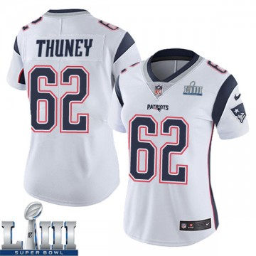 Women's Nike New England Patriots Joe Thuney White Super Bowl LIII Vapor Untouchable Jersey - Limited