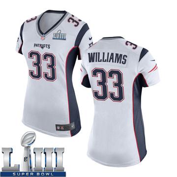 Women's Nike New England Patriots Joejuan Williams White Super Bowl LIII Jersey - Game
