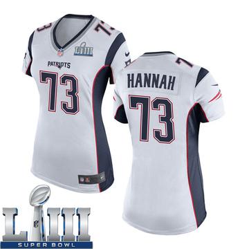 Women's Nike New England Patriots John Hannah White Super Bowl LIII Jersey - Game