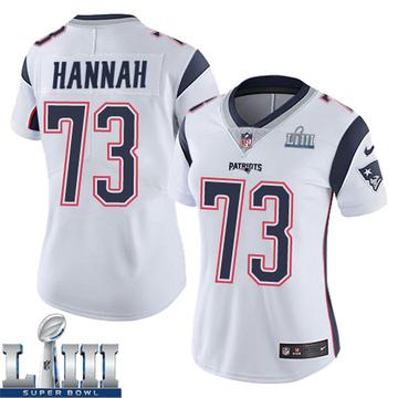 Women's Nike New England Patriots John Hannah White Super Bowl LIII Vapor Untouchable Jersey - Limited