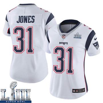 Women's Nike New England Patriots Jonathan Jones White Super Bowl LIII Vapor Untouchable Jersey - Limited