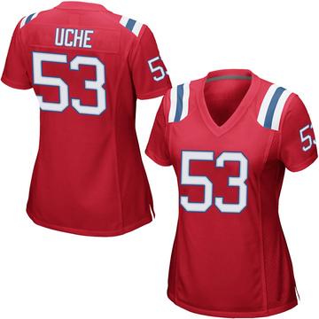Women's Nike New England Patriots Josh Uche Red Alternate Jersey - Game
