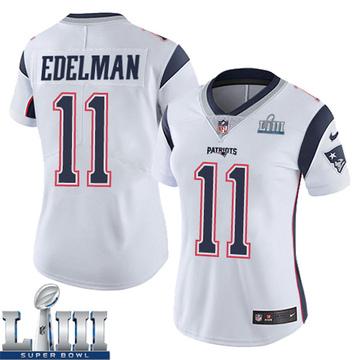 Women's Nike New England Patriots Julian Edelman White Super Bowl LIII Vapor Untouchable Jersey - Limited