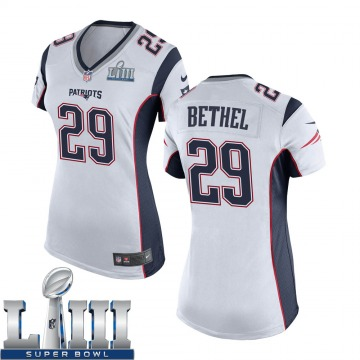 Women's Nike New England Patriots Justin Bethel White Super Bowl LIII Jersey - Game