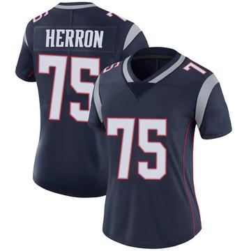 Women's Nike New England Patriots Justin Herron Navy 100th Vapor Jersey - Limited