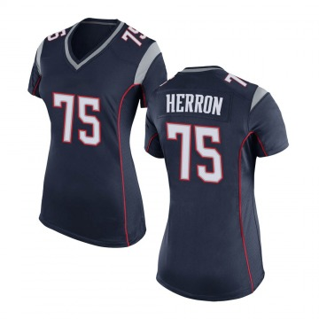 Women's Nike New England Patriots Justin Herron Navy Blue Team Color Jersey - Game
