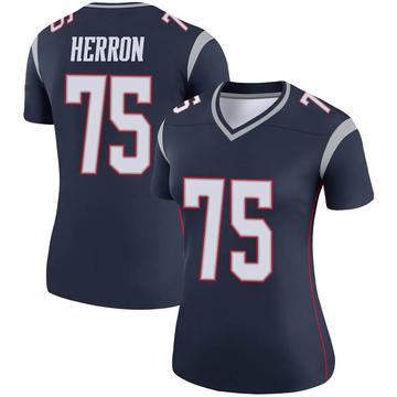Women's Nike New England Patriots Justin Herron Navy Jersey - Legend