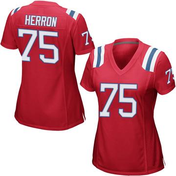 Women's Nike New England Patriots Justin Herron Red Alternate Jersey - Game