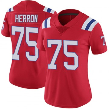 Women's Nike New England Patriots Justin Herron Red Vapor Untouchable Alternate Jersey - Limited