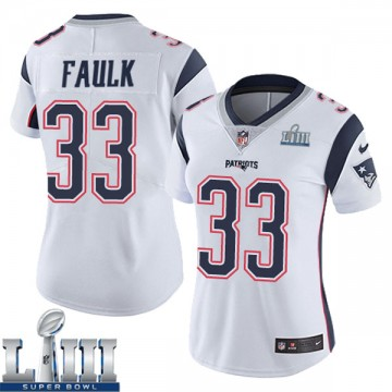 Women's Nike New England Patriots Kevin Faulk White Super Bowl LIII Vapor Untouchable Jersey - Limited