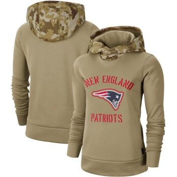 Women's Nike New England Patriots Khaki 2019 Salute to Service Therma Pullover Hoodie -