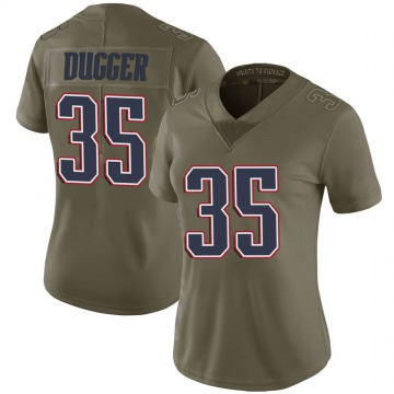 Women's Nike New England Patriots Kyle Dugger Green 2017 Salute to Service Jersey - Limited
