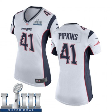 Women's Nike New England Patriots Lenzy Pipkins White Super Bowl LIII Jersey - Game