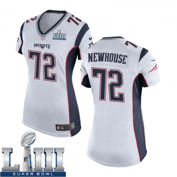 Women's Nike New England Patriots Marshall Newhouse White Super Bowl LIII Jersey - Game
