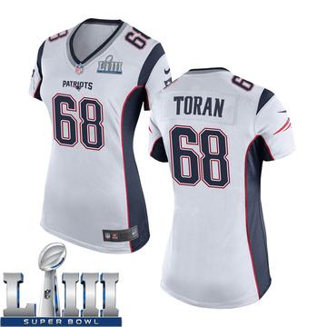 Women's Nike New England Patriots Najee Toran White Super Bowl LIII Jersey - Game