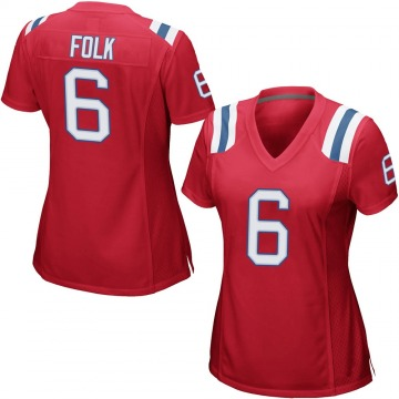 Women's Nike New England Patriots Nick Folk Red Alternate Jersey - Game