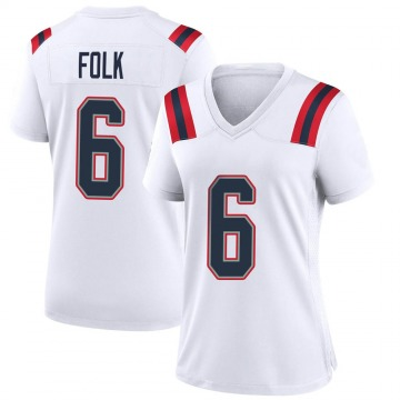 Women's Nike New England Patriots Nick Folk White Jersey - Game