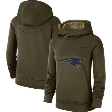 Women's Nike New England Patriots Olive 2018 Salute to Service Team Logo Performance Pullover Hoodie -