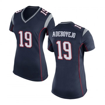 Women's Nike New England Patriots Quincy Adeboyejo Navy Blue Team Color Jersey - Game