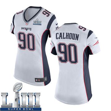 Women's Nike New England Patriots Shilique Calhoun White Super Bowl LIII Jersey - Game