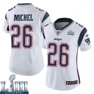 Women's Nike New England Patriots Sony Michel White Super Bowl LIII Vapor Untouchable Jersey - Limited