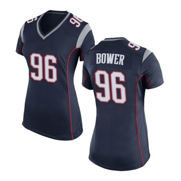 Women's Nike New England Patriots Tashawn Bower Navy Blue Team Color Jersey - Game