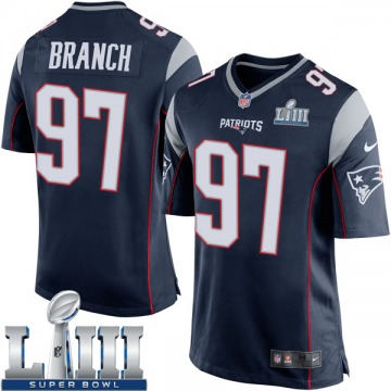 Youth Nike New England Patriots Alan Branch Navy Blue Team Color Super Bowl LIII Jersey - Game